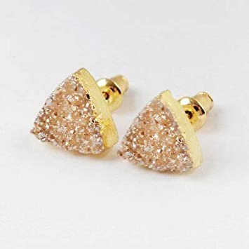 1 Pair FidgetKute 10mm Triangle Natural Druzy Earrings Metallic Glitter Plated Studs HG1530 Opal White