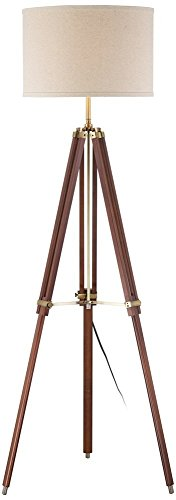 Cherry Finish Wood Surveyor Tripod Floor Lamp