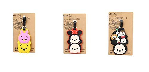 Set of 3 - Super Cute Kawaii Cartoon Silicone Travel Luggage ID Tag for Bags Suitcases (Assorted) (TSUM TSUM A)