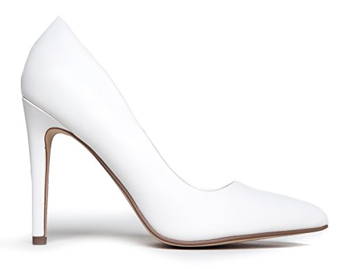 Classic Closed Pu High J On Pointed Toe Jing White Adams Pumps Work Pumps Heel Slip Kiera wx0fER0qa