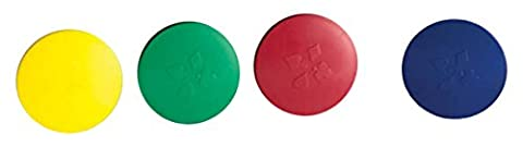 Round Card Holders with Case in Red, Yellow, Green & Blue, Multi - Game Card Holder