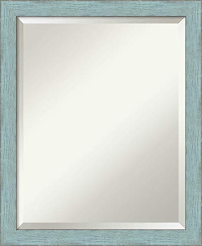 Amanti Art Framed Mirrors for Wall | Sky Blue Rustic Mirror for - Bathroom Ocean Mirrors Blue