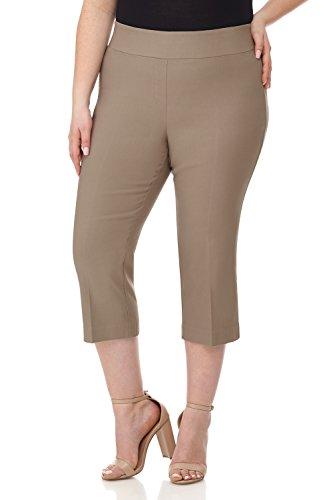 Stretch Classic Capris (Rekucci Curvy Woman Plus Size Classic Wide Waist Flattering Fit Capri (16W,Oatmeal))