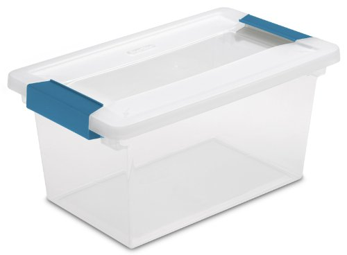 STERILITE 19628604 Medium Clip Box, Clear with Blue Aquarium Latches, 4-Pack ()