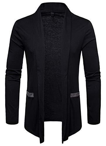 WHATLEES Mens Casual Long Solid Wool Blend Slim Fit Open Outwear Cardigan