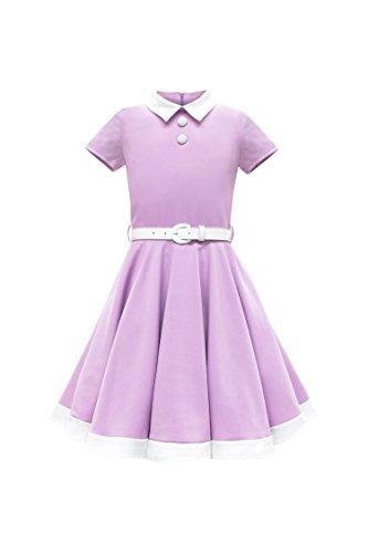 (BlackButterfly Kids 'Lucy' Vintage Clarity 50's Girls Dress (Lilac, 11-12)