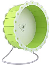 Quiet Hamster Exercise Wheel Silent Spinner, Made of Wood, Stand Included, Sunflower Design (Green)