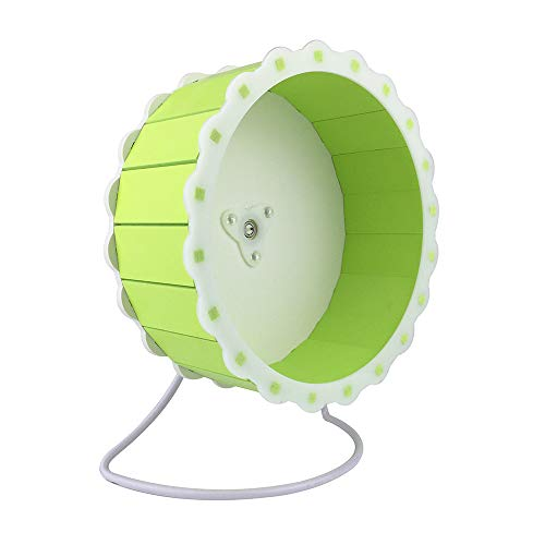 Petzilla Quiet Hamster Exercise Wheel Silent Spinner, Made of Wood (Green,7.5