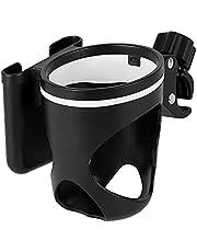 Universal Cup Holder Stroller, 2 in 1 Bottle Holder for Stroller, 360° Rotation Large Caliber Drink Holder for Bike Buggy Pushchair Wheelchair Trolleys and More Walker, Fits Most Cups
