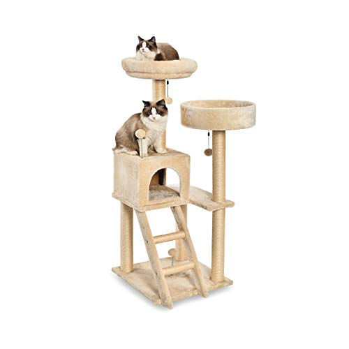 AmazonBasics Large Dual Platform Cat Condo Tree Tower - 19 x 50 x 19 Inches, Beige