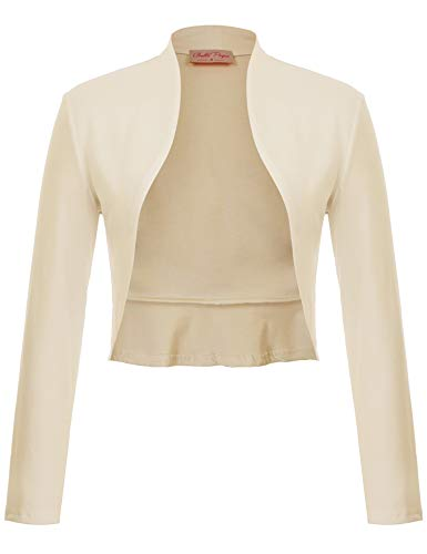 Belle Poque Ivory Open Front Cropped Bolero Long Sleeve Shrug for Women(Apricot,S)