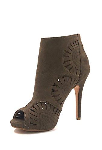 Vert Femme kaki Bottines NANA perforet en Chaussure motif bout effet daim CHIC Mode ouvert Escarpins xwSOng