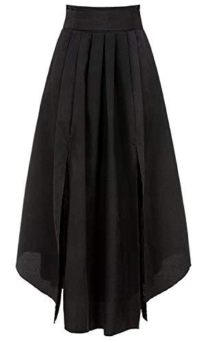 Bodycon4U Women's High Slits Bow Tie Summer Beach High Waist Shirring Maxi Skirt Pockets Black M by Bodycon4U (Image #3)