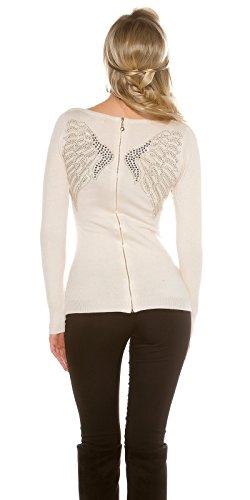 Atemberaubende Pullover mit Strass Flügel und Reißverschluss hinten. UK 8/10. Cremefarben DonSo