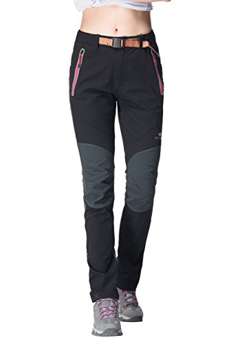 Womens Outdoor SoftShell Pants Elastic Waterproof Autumn Hiking 16981 Black Small