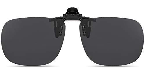 SUNINC Clip On Sunglasses Over Prescription Glasses Polarized Lens Flip Up Shades Driving Sunglasses for Men Women Black Grey Lens Large Size (Brille Clip-on Shades)
