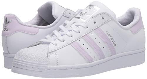 adidas Originals Women's Superstar Sneaker, White/Purple Tint/Silver Metallic, 10