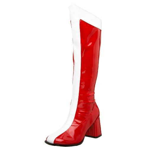Funtasma by Pleaser Women's Halloween GOGO-305,Red/White Stretch Patent,10 M (Wonder Woman Boots)