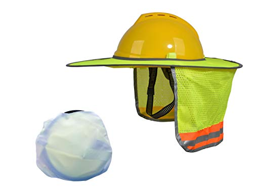 - Hard Hat Sun Shield, Full Brim Mesh Neck Sun-Shade Protection with Visor for Hardhats, High Visibility and Reflective