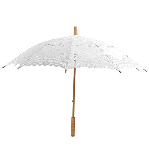 Escolourful Handmade Lace Umbrella Wedding Parasol for Bridal Bridesmaid Decoration by Escolourful