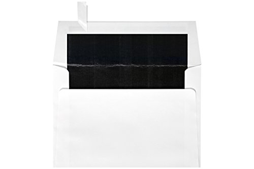 6 1/2 x 6 1/2 Foil Lined Square Envelopes w/Peel & Press - White w/Black LUX Lining (250 Qty.) | Perfect for the HOLIDAYS, Announcements, Greeting Cards, Special Occasions and More! |FLWH8535-02-250