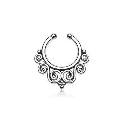 Septum Clicker Crystal Zircon Hoop Nose Stud Ring Barbell Clip Earring Piercing   Styles - #F Silver