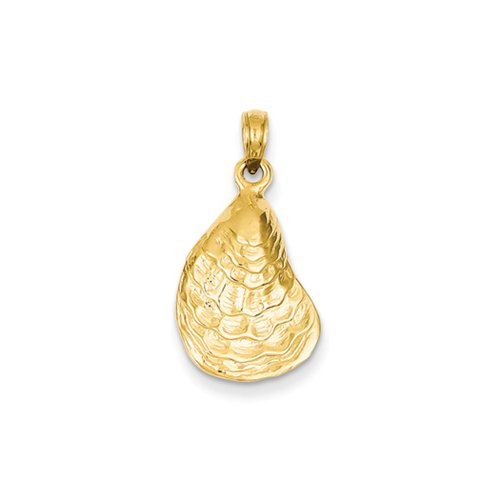 14k Yellow Gold Oyster Shell Pendant (Yellow Gold 14k Oyster)