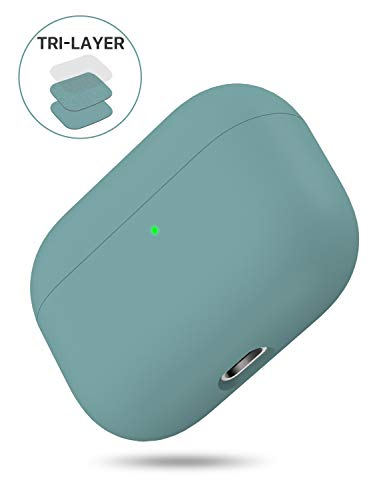 Miracase Upgrade Cover for Airpods Pro Case, Triple Layer Protective Liquid Silicone Case for AirPods Pro Charging Case, 2019 Release LED Visible Shockproof Soft Skin Friendly Silicone Case (Green)