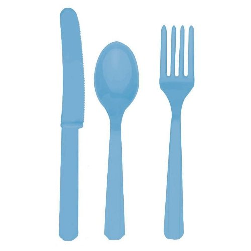 UPC 011179303083, Baby Blue Plastic Cutlery Set for 6 Guests (18pcs)