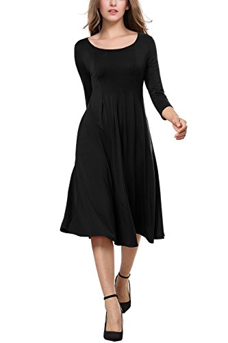 - BAISHENGGT Women's 3/4 Sleeves Pleated Front Pockets Flared Midi Dress Medium Black