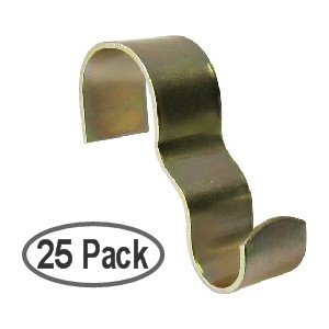 Molding Hooks - Picture Rail Hooks Wide - Brass Plated Steel - 25 Pack - Victorian Molding