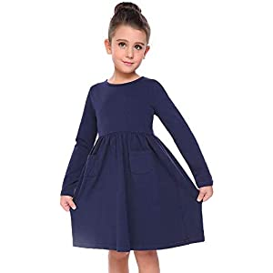 Best Epic Trends 31E02RHCuAL._SS300_ Arshiner Little Girls Dress Long Sleeve Solid Color Casual Skater Pocket Dress