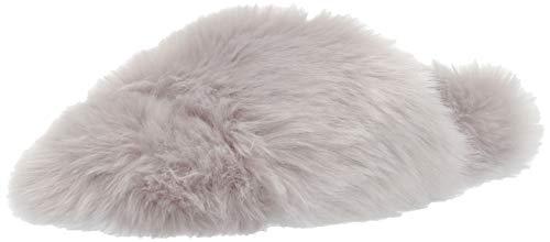 Mae Women's Fuzzy One-Strap Slipper, Grey, 10 B US ()