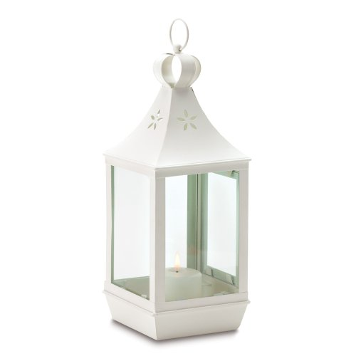 Gifts & Decor Large Cutwork White Shabby Garden Lantern Light Chic Large Cutwork Garden Lantern