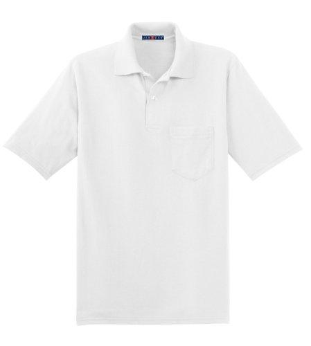 Jerzees Herren Poloshirt Gr. Medium, weiß
