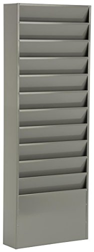 - Displays2go Office File Folder Wall Rack with 11 Tiered Pockets Medical Chart Folders, Gray/Powder Coated Steel (JMFF11GRY)
