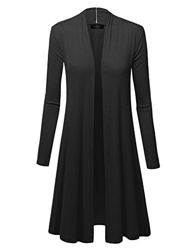WSK1048 Womens Solid Long Sleeve Open Front Long Cardigan L Black