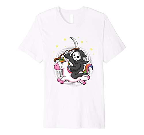 Grim Reaper Riding A Unicorn T-Shirt Funny Halloween ()