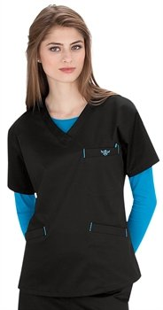 Med Couture Women's Signature V-Neck Scrub Top, Peri/Kiwi, (Kiwi Mix)