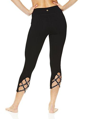 Gaiam Women's Capri Yoga Pants - Performance Spandex Compression Legging - Black Stella Strappy, Small (Cropped Jeans Stella)