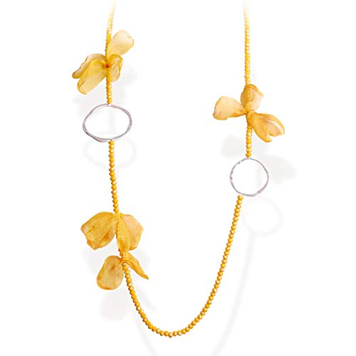 (FAMARINE Bohemian Long Necklace, Chiffon Fabric Flower Petals Crystal Beads Sliver Circles Statement Necklace for Women Jewelry, Yellow)