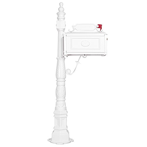 Classic Pedestal Mailbox Package (Timmart Cast Aluminum Mailbox Heavy Duty Postal Box Vertical Pedestal Classic Decorative White)