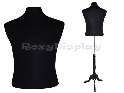 (JF-MBSB+BS-02BKX+CAP-M42BKX) ROXYDISPLAY™ Male Hard Foam Dress Form with Black Wooden Base and Top