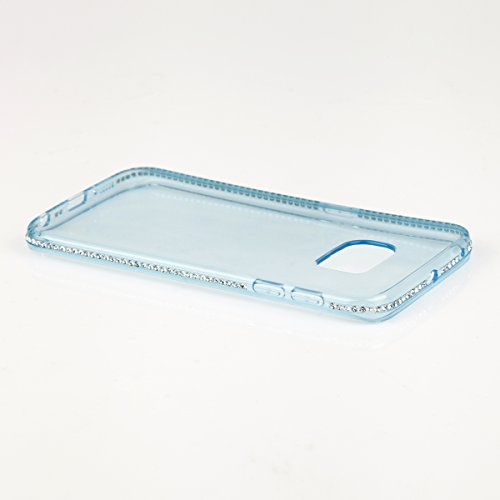 EGO® TPU Schutzhülle Strass Case Diamant für Samsung Galaxy S6 edge G925 Blau Transparent Luxus Glitzer Matt Tasche Kristall Case Back Cover Weich Silikon Ultra Dünn Steine Kristall Hülle Glänzend Bli