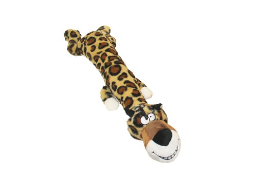 Multipet Dawdler Dudes Leopard Plush Filled Squeak Dog Toy,