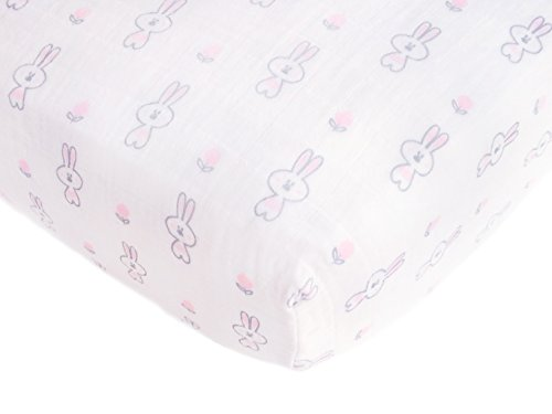 (SwaddleDesigns Cotton Muslin Crib Sheet, Pastel Pink Bunnie + Lolli)