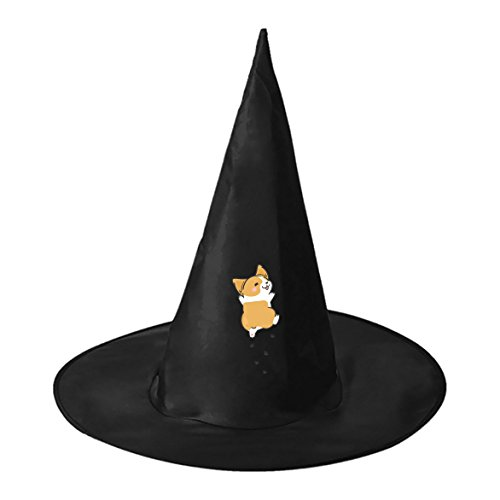 Happy Corgi Black Witch Hat Costume Accessory for Halloween Christmas Party for Adult Kids