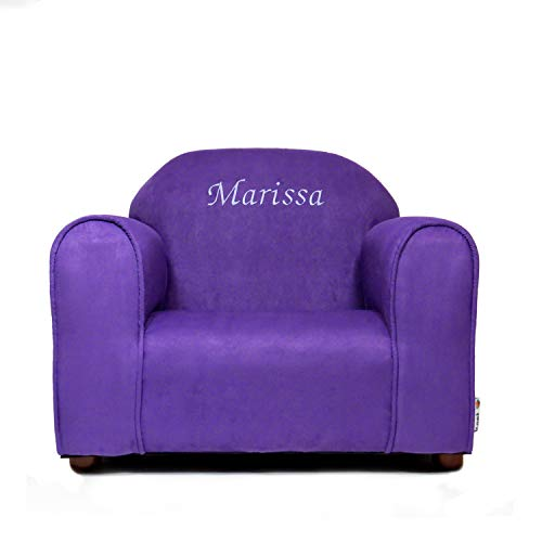Upholstered Personalized Kids Chair Microfiber Suede (Purple -