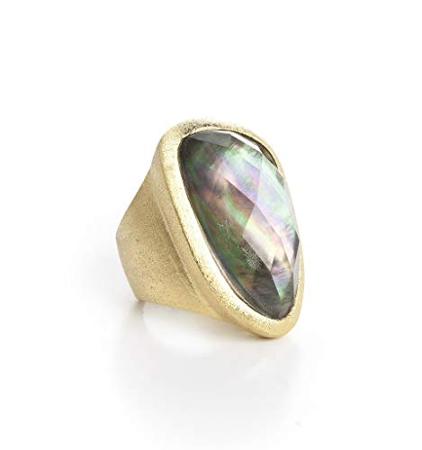 - Rivka Friedman Black Mother of Pearl Doublet Cocktail Ring