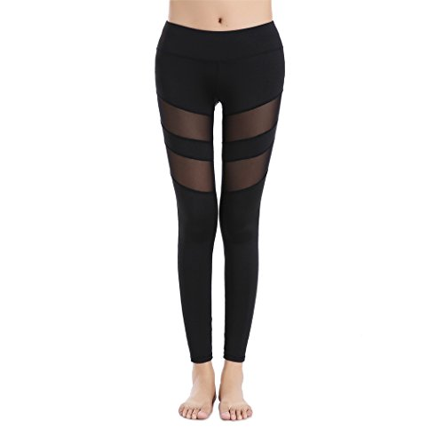 Threelove Women's Mesh Tights Workout Stretch Yoga Pants 90 Degree Mid-Waist Slim Capri Leggings Black M